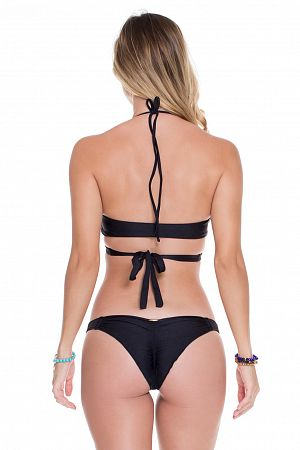 Плавки Luli Fama Strappy Brazilian Ruched Back Bottom Black - MixBikini