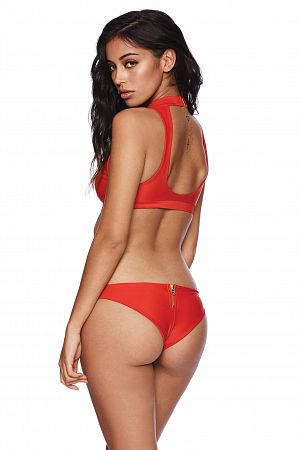 Купальник Beach Bunny Zoey High Neck Top & Tango Bottom Red - MixBikini